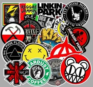 100 Rock Stickers Metal Punk Bands Guitar Amp Music Decal Stickerbomb Skateboard