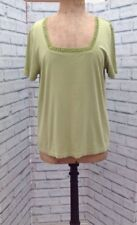 Ladies Ann Harvey Green Cotton Top Size 16, Short Sleeve, Square Neck
