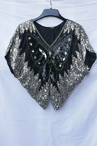 Valachi Creations Vintage 80s Silver & Black Sequin Silk Butterfly Top Blouse S