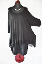 Layered Look Bow - Wave Big-Long-Tunika Jersey+Mesh Black XXL, XXXL, XXXXL