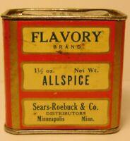 Vintage 1930s FLAVORY ALLSPICE SEARS ROEBUCK CO SPICE TIN MINNEAPOLIS MINNESOTA