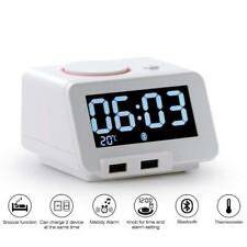 Alarm Clock For Bedrooms with Bluetooth Speaker 2-Port Universal USB (C1 Pro)