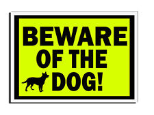 BEWARE OF THE DOG YELLOW WARNING FENCE- GATE- DOOR SIGN UK FREE DELIVERY
