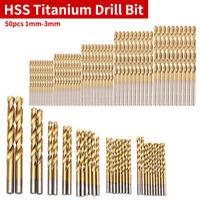 50Pcs/Set Titanium Coated HSS Steel Twist Bit Drill Wood Tool 1/1.5/2/2.5/3mm