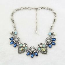 Vintage Silver Plated Rhinestone Crystal Resin Statement Necklace US SELLER