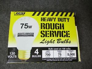 4  FEIT ELECTRIC Rough Service Heavy Duty Light Bulbs 75 watt