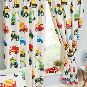 """TRUCKS AND TRANSPORT FULLY LINED CURTAINS CARS DIGGERS TRACTORS 66"""" x 72"""""""