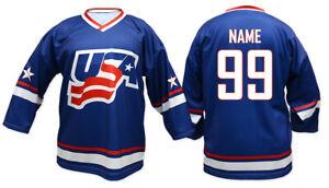 Team USA 2011 blue Ice Hockey Jersey Custom Name and Number