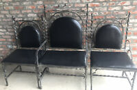 Vtg Antique Heavy Metal Gothic 3 Altar Chairs Religious Church Throne Altar