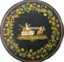 """30"""" Black Marble Coffee Table Malachite Grapes Art Inlay Dining Room Decor H3131"""