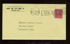 US New England Cover 1929 Springfield, Massachusetts with Railway P.O. Cancel