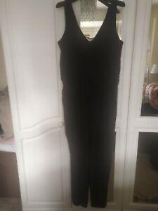 Mango Black Jumpsuit Size Large With Mesh V Neck