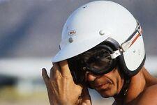 STEVE MCQUEEN #HUSQVARNA #HAMMERHEAD #F1 BELL WHITE #MOTORCYCLE RT CRASH #HELMET