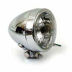 "Harley 4"" Headlamp, Plain Bullet Chrome"