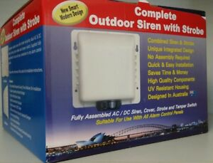 Complete Outdoor Alarm Siren - Full Assembled AC/DC Strobe & Tamper Switch
