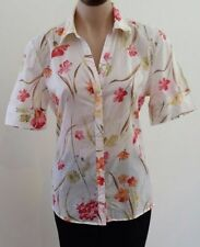 Career Floral Short Sleeve Button Down Shirts for Women