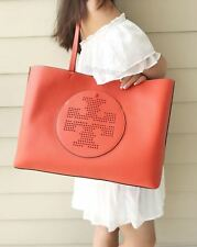 Tory Burch Perforated Logo Large Tote Handbag BOMBE T Thea Orange Coral Ella