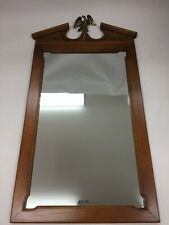 Vintage TELL CITY CHAIR Co. Hanging Wooden Wall Mirror Brass Eagle Andover