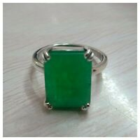 925 Sterling Silver Natural Certified 6.00 Carat Green Brazilian Emerald Ring