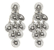 CLIP ON EARRINGS - antique silver chandelier earring with crystals - Carissa