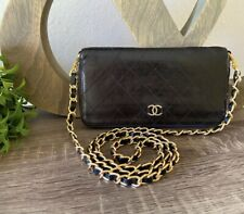 BLACK LEATHER CHANEL CC QUILTED SINGLE ZIP GOLD CHAIN WALLET WOC CLUTCH DOUBLE