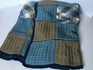 "AFGHAN - LARGE - Hand Knit - 76"" X 65"" - Dark Blue - Tan - Varigated Blue & Tan"