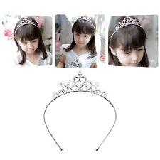 Rhinestone Kid Heart Crystal Tiara Hair Band Bridal Princess Prom Crown Headband