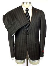 NWT ISAIA Gregory Charcoal Stripe Super 130's 2Btn Flat Front Suit 50 40 40R 38R