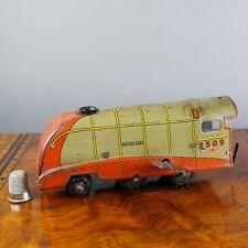 Vintage Clockwork English Toy Wind Up Tinplate Train Locomotive Silver Link