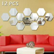 36X 3D Mirror Tiles Mosaic Wall Stickers Self Adhesive Bedroom Art Decal Home UK
