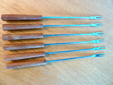 """6 Fondue Forks w/  Rounded Wooden Handles   B   Stainless  Japan    10"""""""