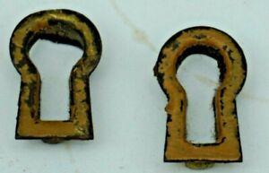 Vintage Brass Key Hole Inserts Covers Escutcheons Antique