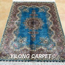 Yilong 3'x4.5' Handmade Silk Area Rugs Blue Handcraft Discount Shag Carpets 0568