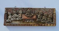 UNUSUAL ANTIQUE CHINESE HAND CRAVED WOOD PANEL DEPICTS CHILDERN IN CLASS