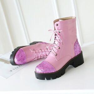 Women Combat Riding Grace Shoe Shiny Patent Leather Platform Lace Up Block Heels