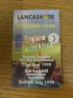 1998 Cricket: Lancashire County Cricket Club - Fixtures Booklet, Fold Out Style.