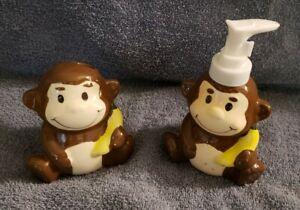 Kids Monkey Bathroom Soap Dispenser and Tooth Brush Holder for 2 Brushes Ceramic