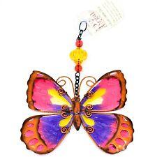 Regal Art & Gift Hand Painted Metal Glass Pink Butterfly Sun Catcher Suncactcher