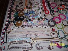 LOT OF JEWELRY TREASURES, OVER STOCK SALE, 74 BRACELETS, 35 NECKLACES, 13 PINS +