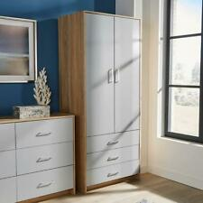 Grey Wardrobe 2 Door 3 Drawer with Hanging Rail Storage Bedroom Unit Furniture
