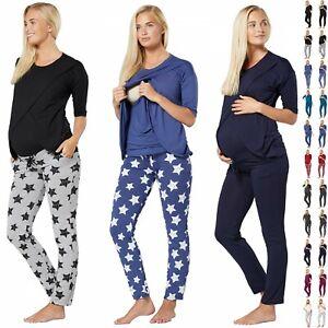 HAPPY MAMA Women's Maternity Nursing Pyjama Loungewear Set Crossover Front 1021