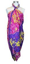 Jumbo Plus Size Tropical Cruise Beach Luau Sarong Wrap Dress Golden Turtle Purpl