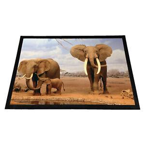 Elephants At Waterhole Rubber Doormat - Measurements: 60cm x 40cm