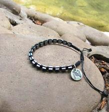 Shambala Natural Gemstone Cube Hematite Bracelet & Sterling Silver 925 Pendant