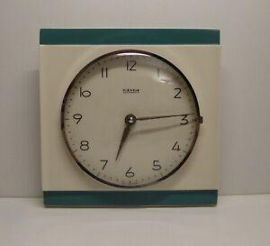 VINTAGE KIENZLE GERMANY CERAMIC WALL CLOCK AUTOMATIC POTTERY MID CENTURY 1960s