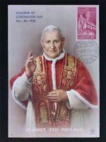VATICAN MK 1958 PAPST JOHANNES POPE PAPA PAPIEZ CARTE MAXIMUM CARD MC c7150