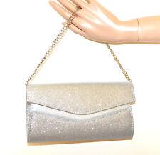 BOLSO PLATA CLUTCH shimmer mujer glitter cadena plata handväska handbag G64