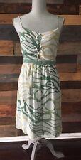 Tea And Honey Women's 100% Silk Lined Dress Spaghetti Strap Green Tan R21