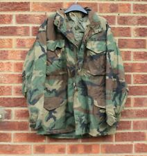 Vtg green army jacket camo coat khaki brown black thick chunky parka M