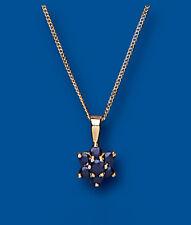 Zafiro Colgante Oro Amarillo Cluster Collar
